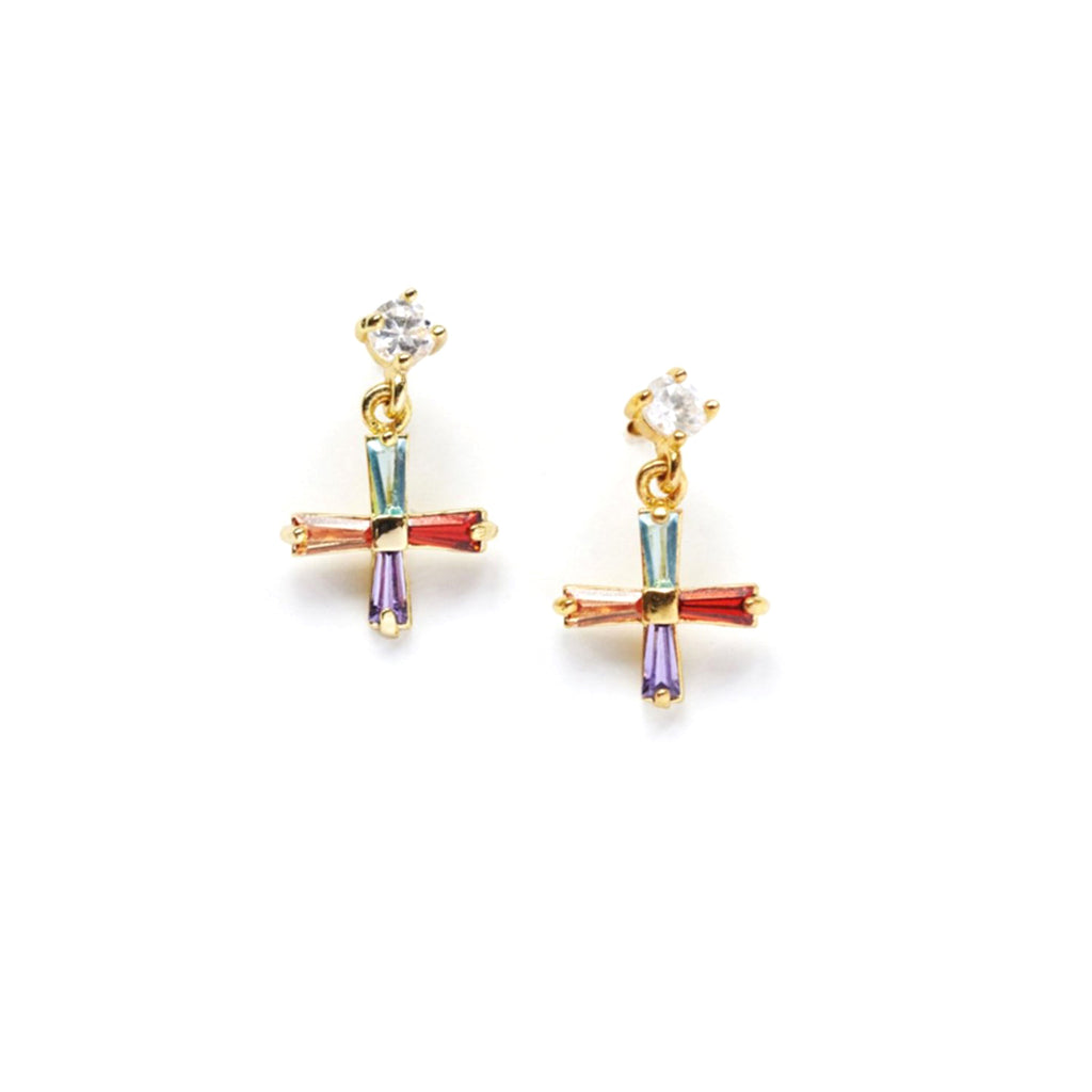 reliquia mini cross jewel earrings