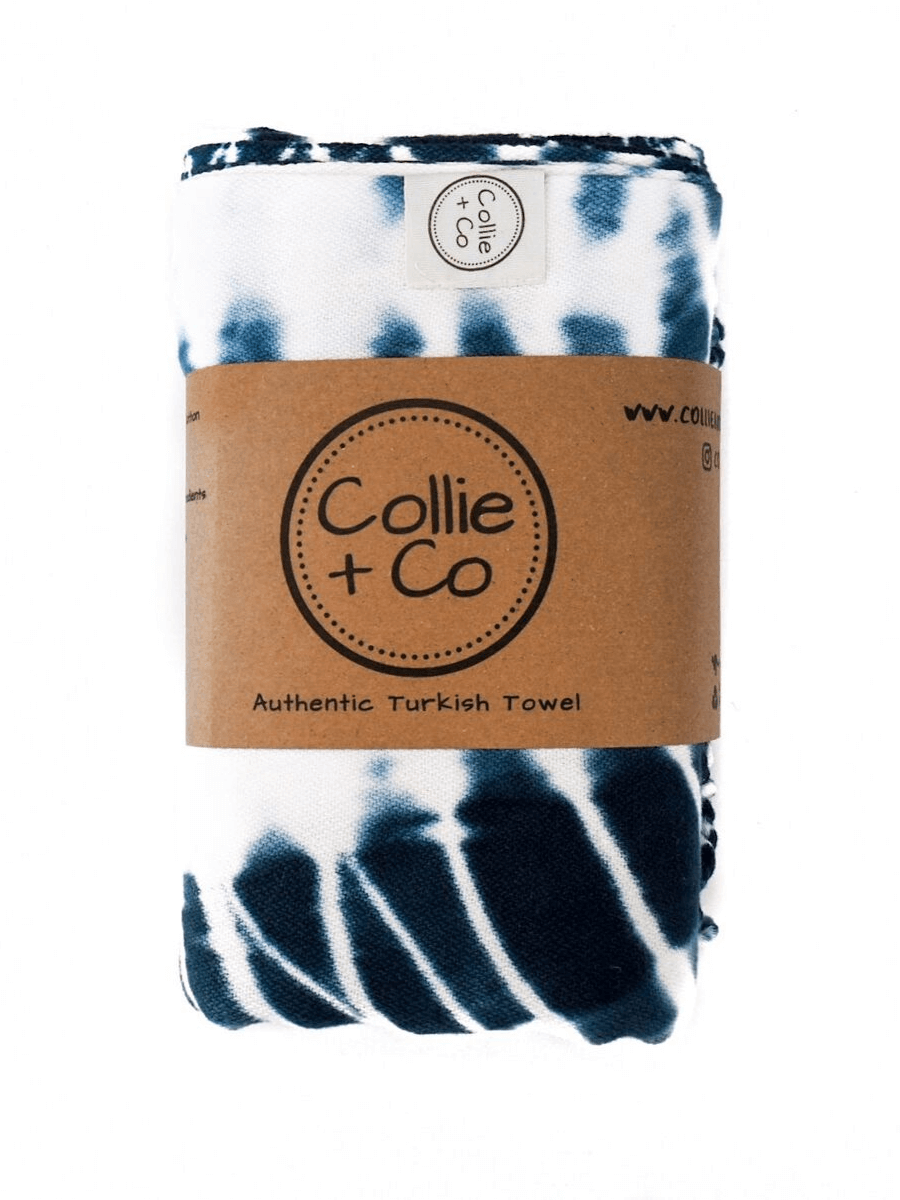 COLLIE AND CO TURKISH TOWEL, BEACH TOWEL, SUMMER TOWEL, SAND-FREE TOWEL, QUICK DRY TOWEL, SUPER ABSORBENT TOWEL, PORTABLE TOWEL, TRAVEL TOWEL, ADVENTURE TOWEL, YOGA TOWEL, GYM TOWEL, ALL NATURAL TOWEL, 100% COTTON TOWEL, UNIQUE DESIGNER TOWEL, PATTERNED TOWEL, Tie Dye Towel, Shibori Indigo Towel, TURKISH TOWEL.