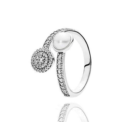 Elegant Beauty Pearl And Cz In Pouch Ring Turkish Wholesale Handmade 925 Sterling Silver Jewelry White Gold - Turkishsilverjewelry