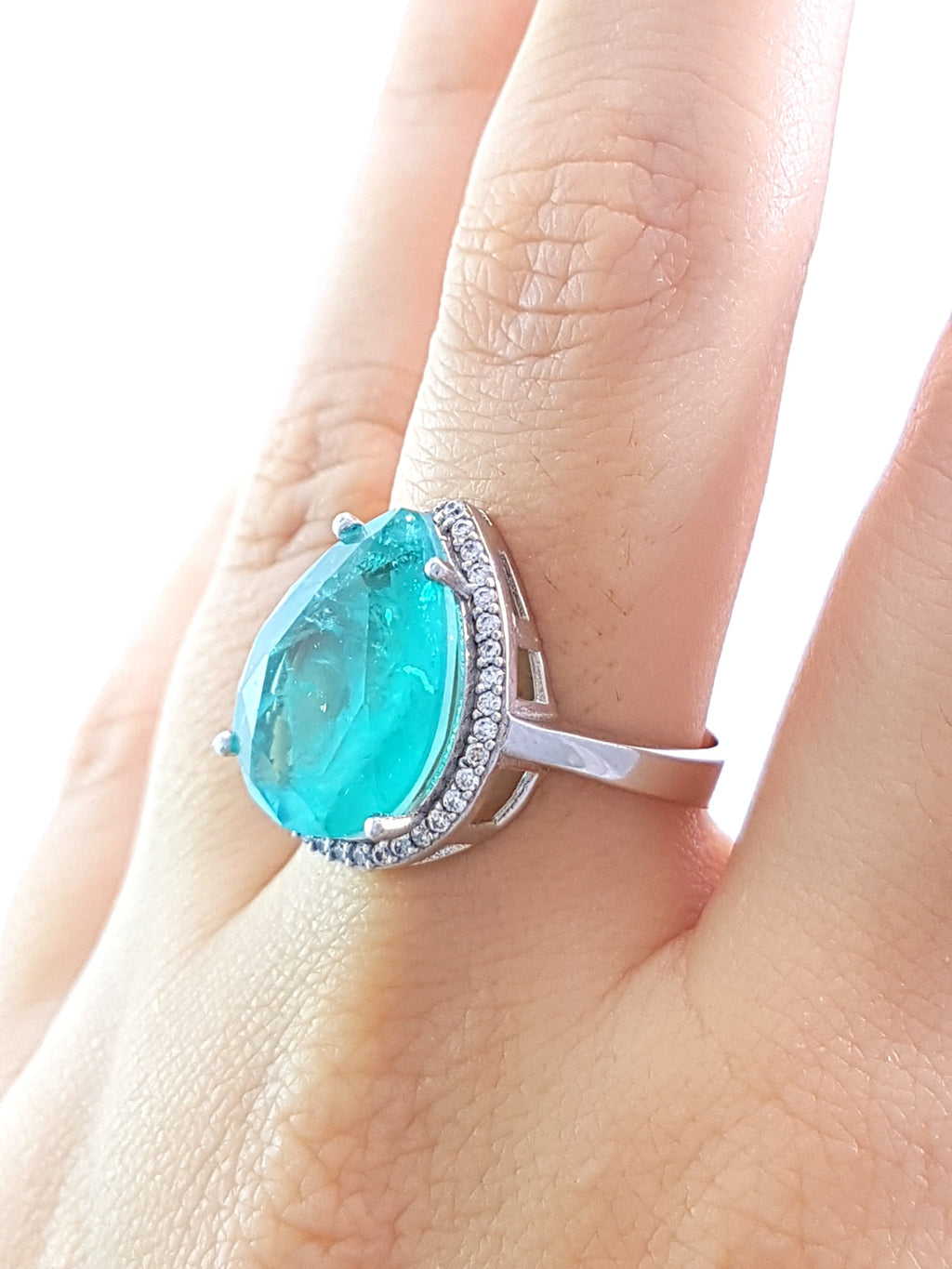 Green Paraiba Ladies Ring S 8 New Turkish Wholesale Handmade 925 Sterling Silver Jewelry R1695 - Turkishsilverjewelry
