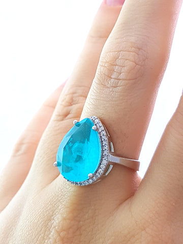 Green Paraiba Ladies Ring S 8 New Turkish Wholesale Handmade 925 Sterling Silver Jewelry R1698 - Turkishsilverjewelry