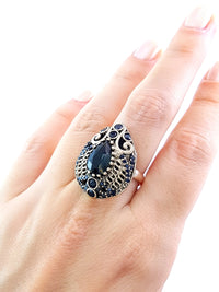LADIES SIZE 7.5 RING Turkish Wholesale Handmade 925 Sterling Silver Jewelry Onyx 1437 - Turkishsilverjewelry