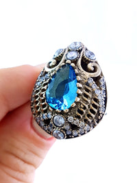 HIGH QUALITY Turkish Wholesale Handmade 925 Sterling Silver Jewelry ANTIQUE SILVER RINGS SZ 8.5 R1420 - Turkishsilverjewelry