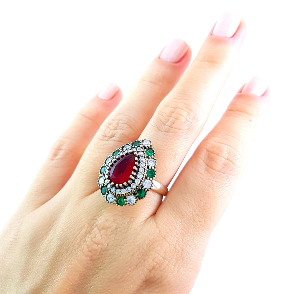 Ottoman Turkish Wholesale Handmade 925 Sterling Silver Jewelry Antique 925 Silver Fashion Rings Size 9 R2119 - Turkishsilverjewelry