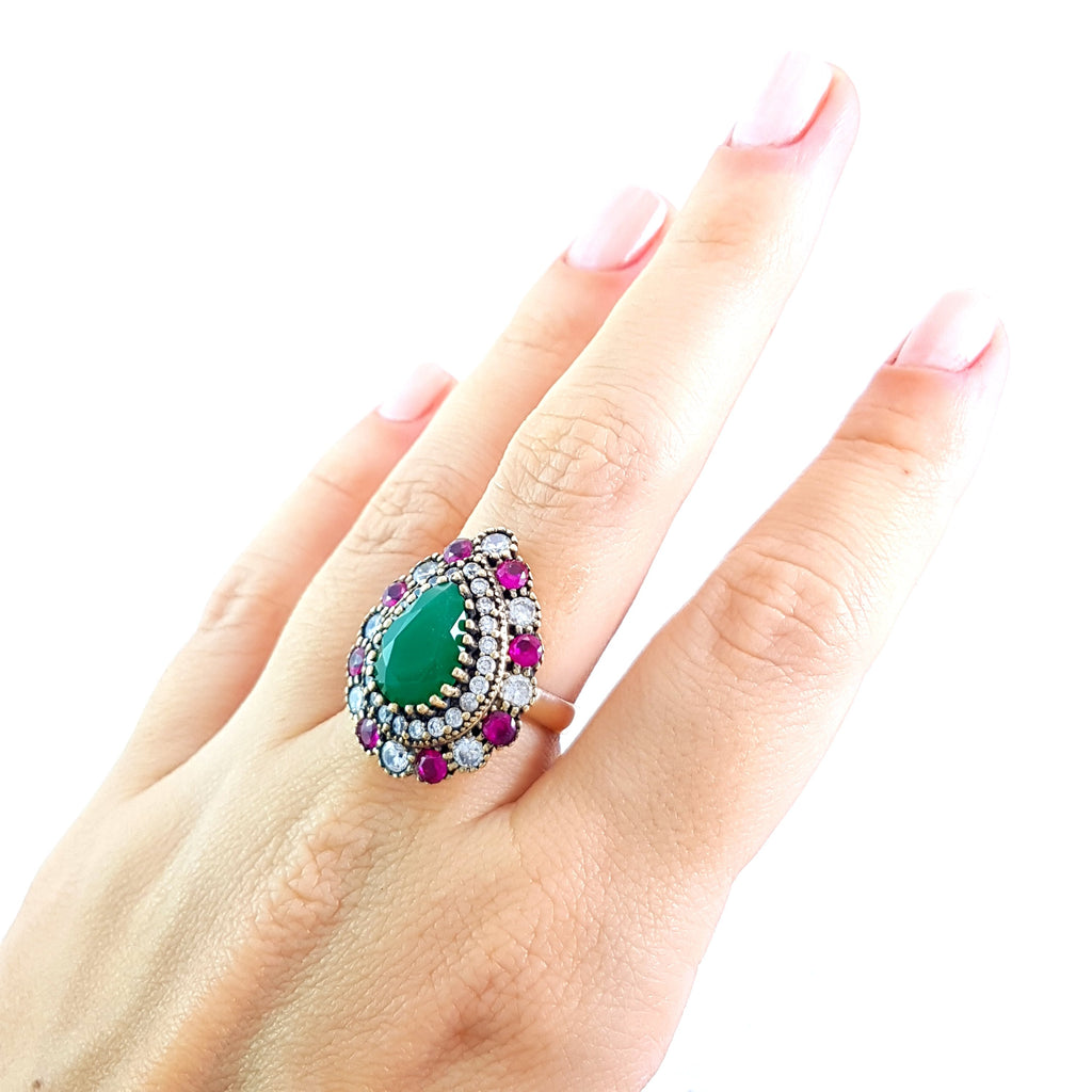 Fashion Rings Ladies Turkish Wholesale Handmade 925 Sterling Silver Jewelry Size 7 R2120 - Turkishsilverjewelry