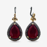 RUBY TOPAZ EARRINGS Turkish Wholesale Handmade 925 Sterling Silver Jewelry 1967 - Turkishsilverjewelry