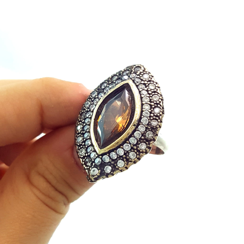 HIGH QUALITY HANDMADE TURKISH OTTOMAN JEWELRY ANTIQUE SILVER RINGS SIZE 7 R1333 - Turkishsilverjewelry