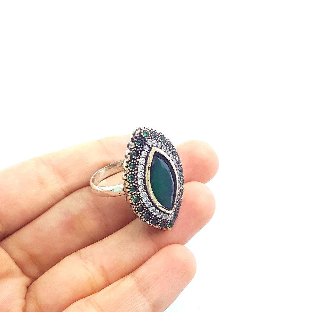 HIGH QUALITY HANDMADE TURKISH OTTOMAN JEWELRY ANTIQUE SILVER RINGS SIZE 8 R1328 - Turkishsilverjewelry