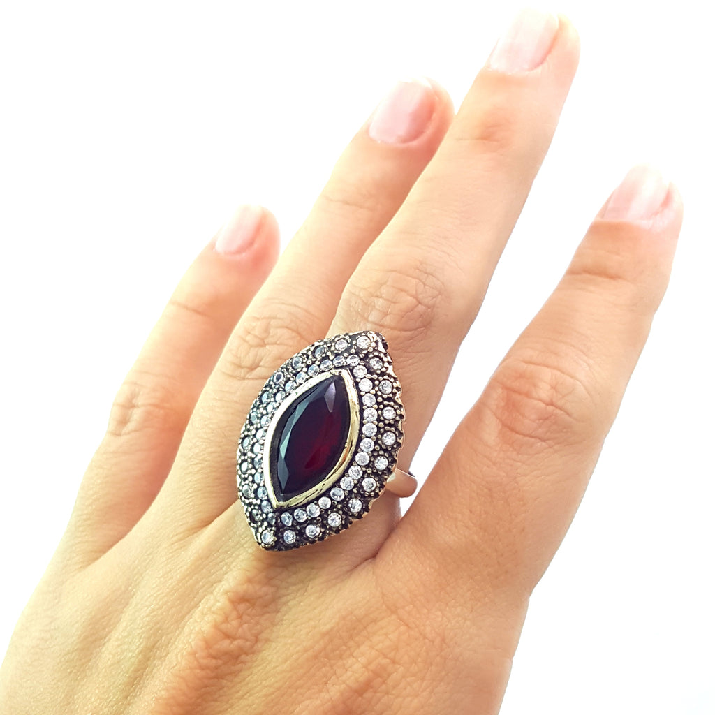925 STERLING SILVER SIZE 8 RUBY RING TURKISH HANDMADE JEWELRY 1308 - Turkishsilverjewelry
