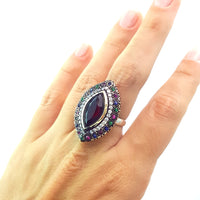 925 STERLING SILVER SIZE 7 RUBY RING TURKISH HANDMADE JEWELRY 1325 - Turkishsilverjewelry
