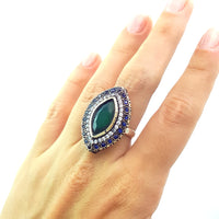 HIGH QUALITY HANDMADE TURKISH OTTOMAN JEWELRY ANTIQUE SILVER RINGS SIZE 7 R1327 - Turkishsilverjewelry
