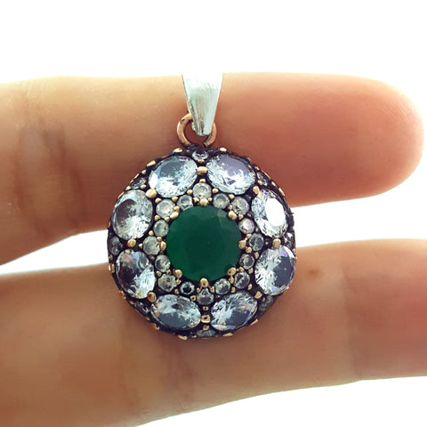 Turkish Jewelry Handmade 925 Sterling Silver Pendants Charm Jewelry Gift P1291 - Turkishsilverjewelry