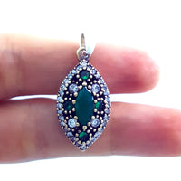 Turkish Silver Pendant Charm Handmade Ladies Jewelry Victorian Style 1466