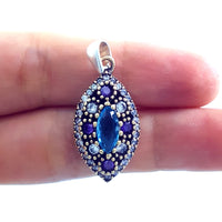 Turkish Silver Pendant Charm Handmade Ladies Jewelry Victorian Style 1469