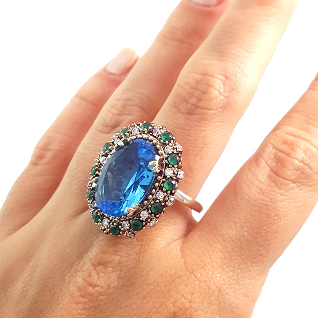 Turkish Ladies Ring Handmade Jewelry Gift For Her 925 Silver Size 9.5 #1485