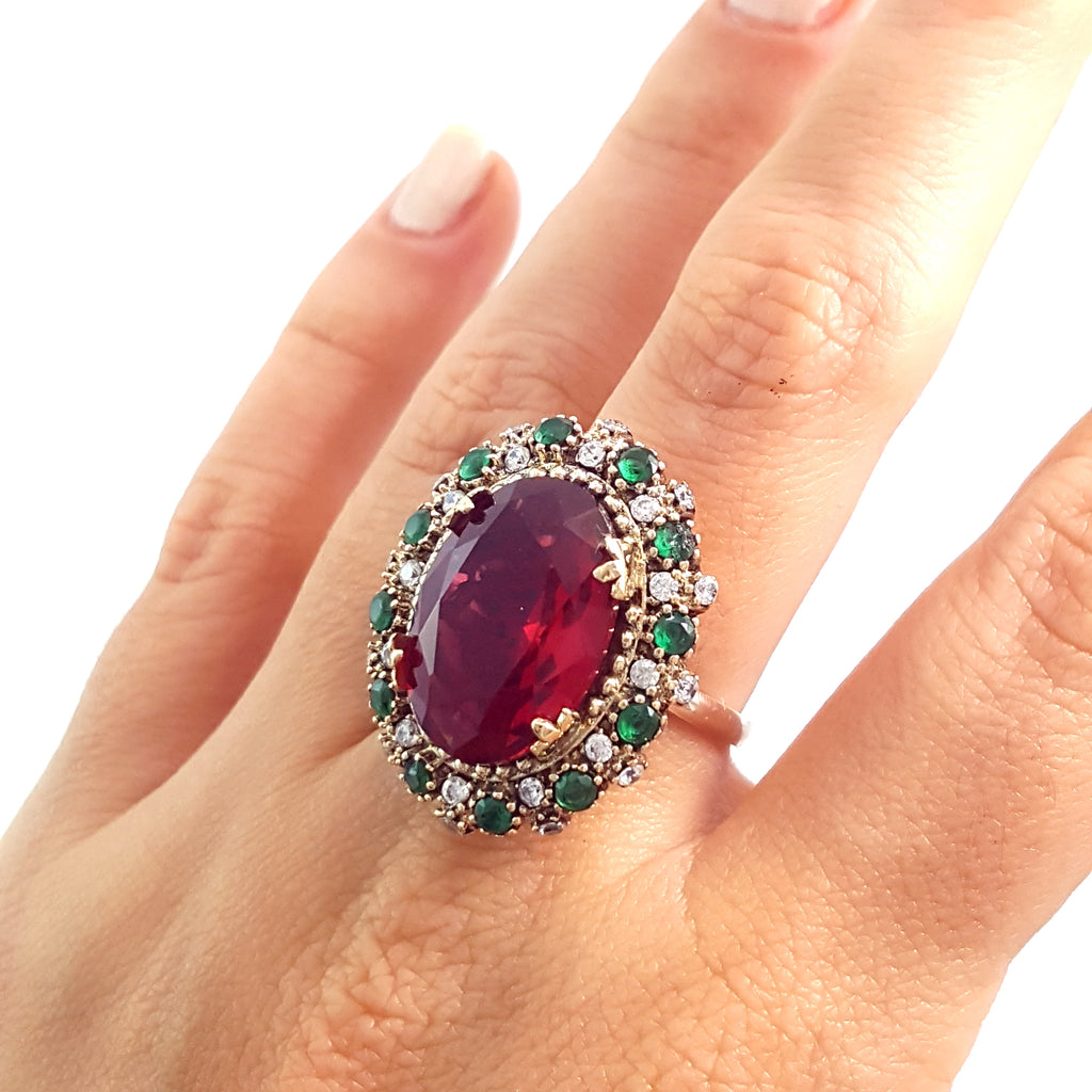Turkish Ladies Ring Ruby Handmade Jewelry Gift For Her 925 Silver 146