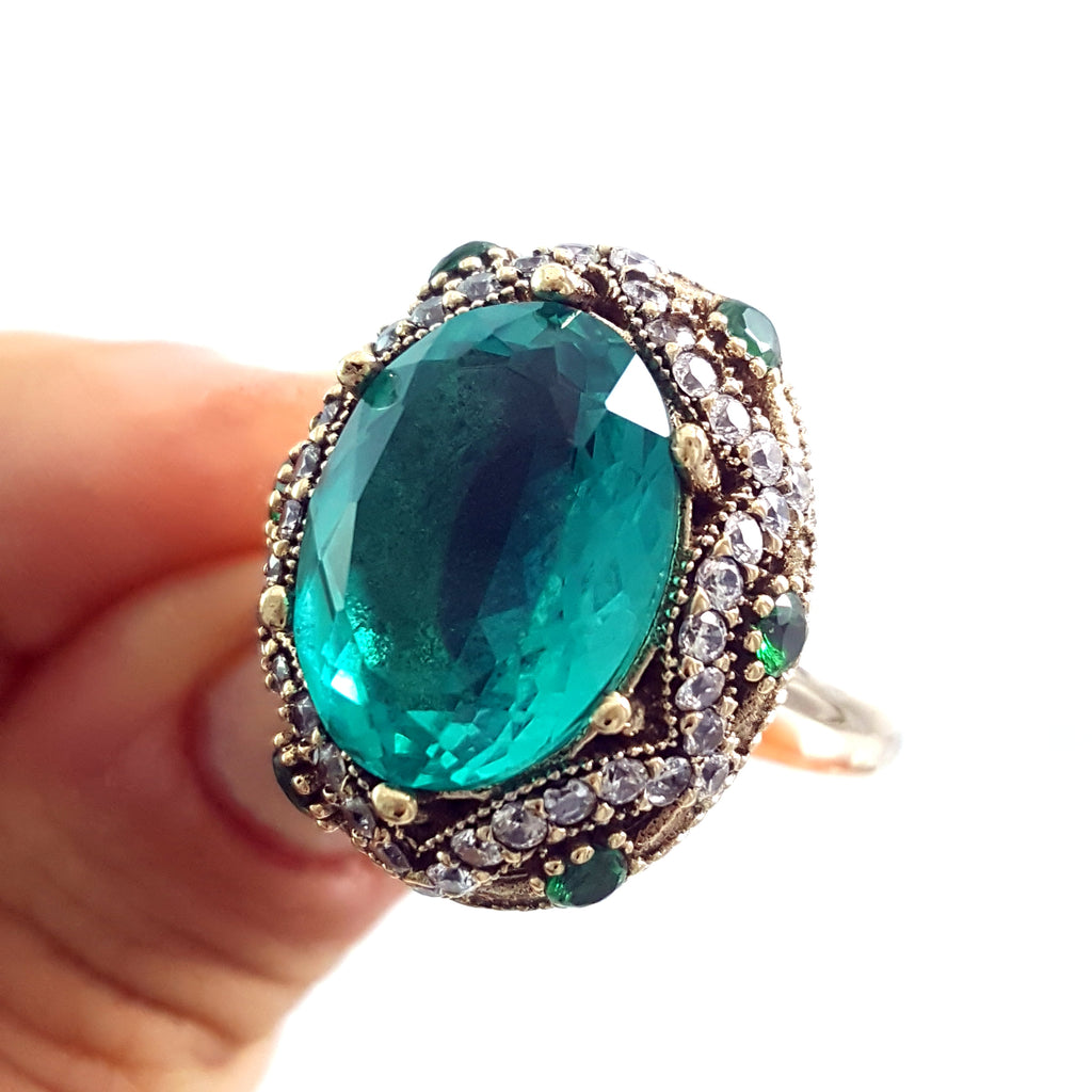 925 Sterling Silver Handmade Authentic Turkish Zircon Ladies Ring Size 10 R1492