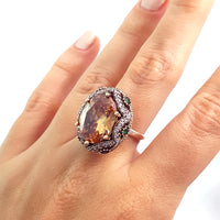 Turkish 925 Sterling Silver Oval Purple Topaz Handmade Ring Size 7.5 R1490