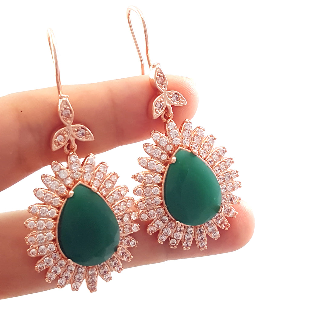 Rose Gold Authentic Jewelry 925 Sterling Silver Victorian Ladies Earrings E2488
