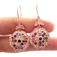 Rose Gold Authentic Jewelry 925 Sterling Silver Victorian Ladies Earrings E2491
