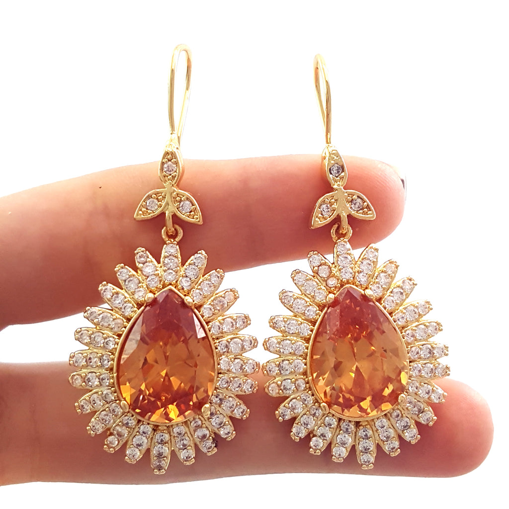 Handmade Authentic Gold Plt Turkish Jewelry 925 Sterling Silver Earrings E2498