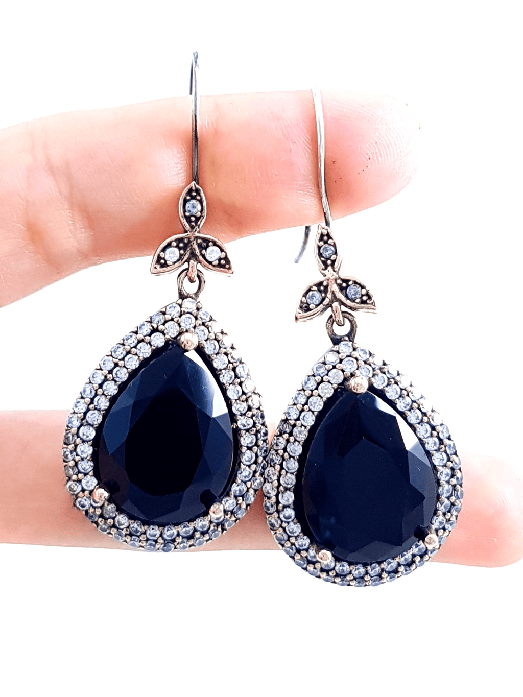 Dark Blue EARRINGS Turkish Wholesale Handmade 925 Sterling Silver Jewelry 1974 - Turkishsilverjewelry
