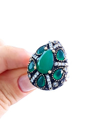 Turkish Wholesale Handmade 925 Sterling Silver Jewelry Hurrem Sultan Ladies Ring 7.5 1975 - Turkishsilverjewelry