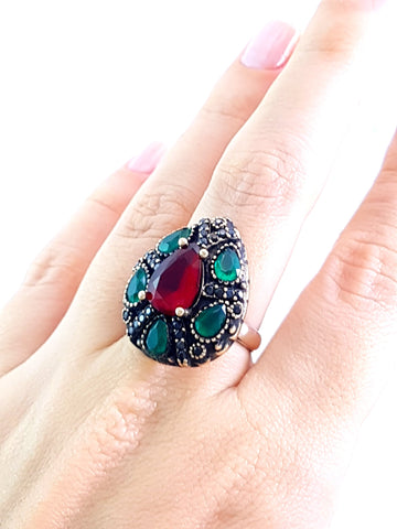 Hurrem Sultan Ladies Ring 7.5 1977 Turkish Wholesale Handmade 925 Sterling Silver Jewelry - Turkishsilverjewelry