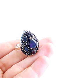 Sapphire Ladies Ring S 7 New Turkish Wholesale Handmade 925 Sterling Silver Jewelry 1979 - Turkishsilverjewelry