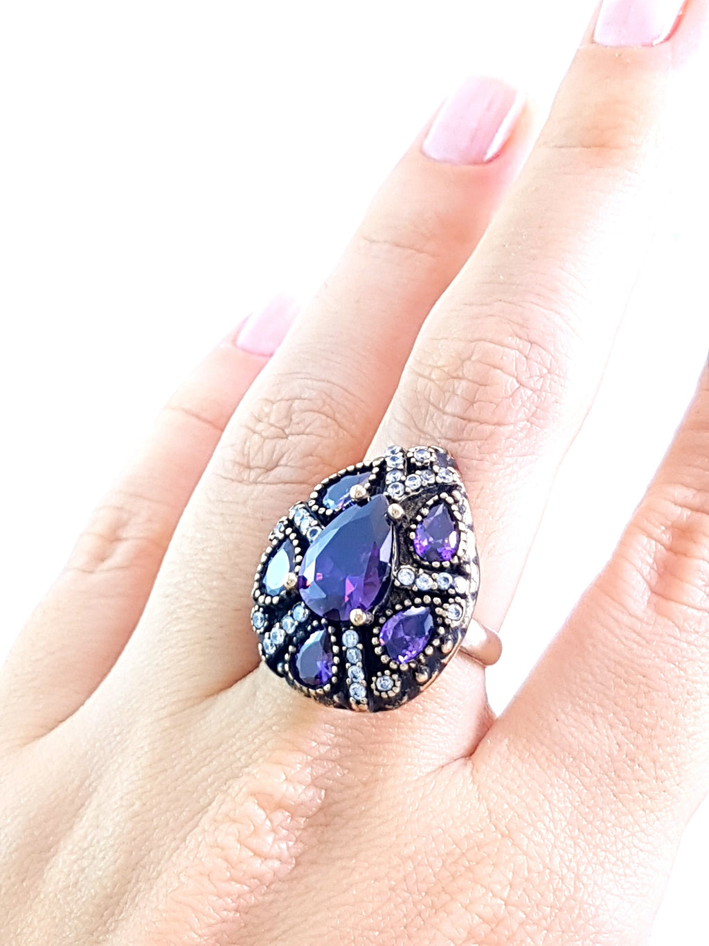 Amethyst Ladies Ring Antique Turkish Wholesale Handmade 925 Sterling Silver Jewelry 1980 - Turkishsilverjewelry