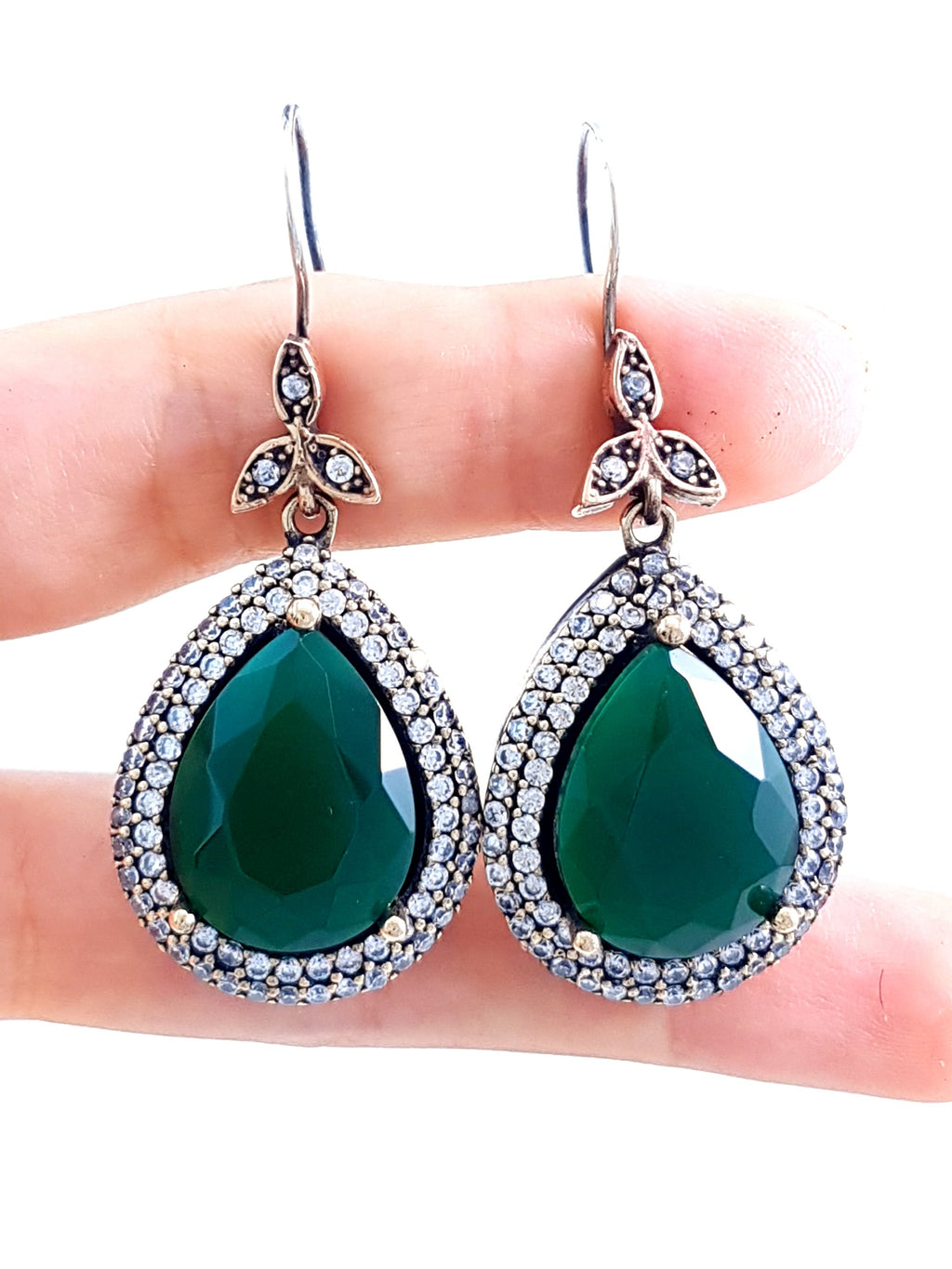 Emerald TOPAZ EARRINGS Turkish Wholesale Handmade 925 Sterling Silver Jewelry 1970 - Turkishsilverjewelry