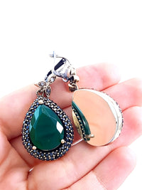 Emerald TOPAZ EARRINGS Turkish Wholesale Handmade 925 Sterling Silver Jewelry 1969 - Turkishsilverjewelry