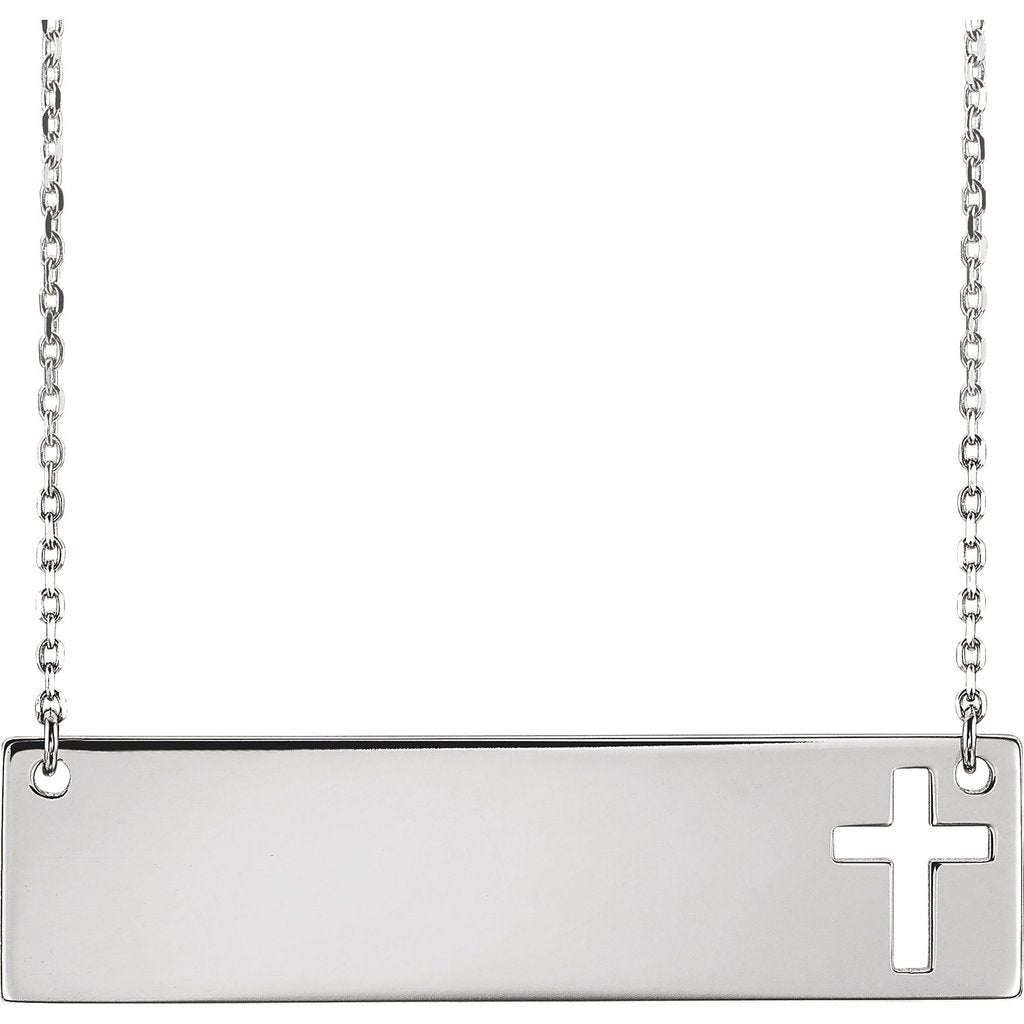 Skinny Bar Necklaces 14K ENGRAVABLE CROSS NECKLACE Turkish Wholesale Handmade 925 Sterling Silver Jewelry - Turkishsilverjewelry