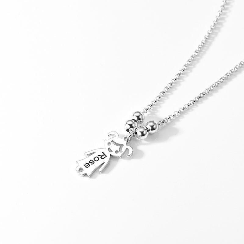 Silver Custom Girl Name Charm Necklace Turkish Wholesale Handmade 925 Sterling Silver Jewelry - Turkishsilverjewelry