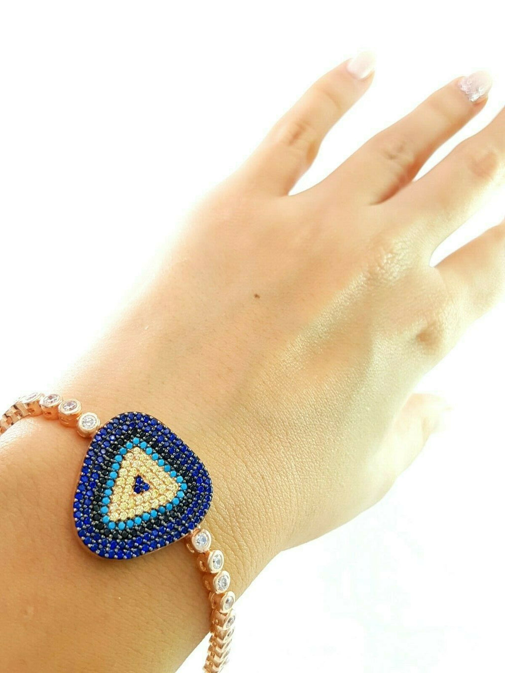 EVIL EYE TURKISH JEWELRY 18K ROSE GOLD Turkish Wholesale Handmade 925 Sterling Silver Jewelry WOMEN BRACELET B1886 - Turkishsilverjewelry