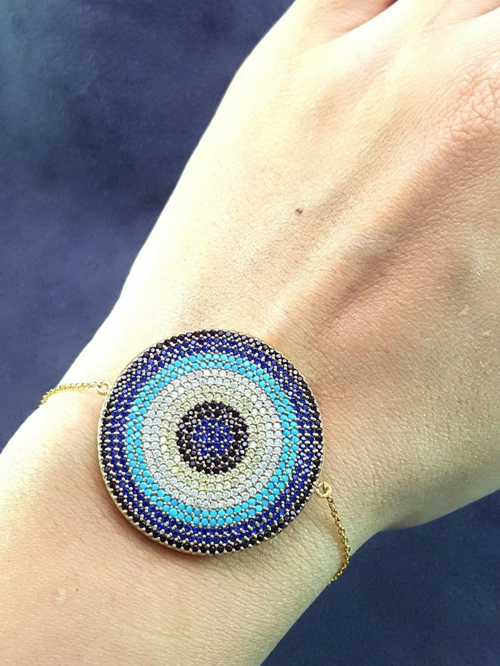 HOT! TURKISH EVIL EYE PROTECTION Turkish Wholesale Handmade 925 Sterling Silver Jewelry THIN BRACELET VK13 - Turkishsilverjewelry