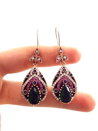 Hurrem Design Turkish Handmade Ladies Jewelry Emerald Topaz Earrings Authentic Ottoman Style Handcrafted 925 Sterling Silver 1563