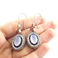 Turkish Ottoman Ladies Jewelry Hurrem Sultan Earrings Milky Pink E2719 - Turkishsilverjewelry