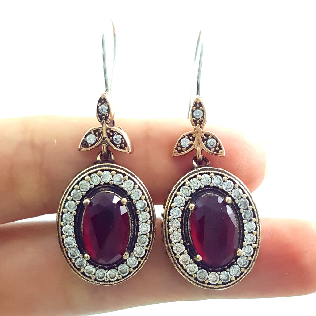 Jewelry Turkish Handmade Victorian 925 Sterling Silver Ladies Earrings E2711 - Turkishsilverjewelry