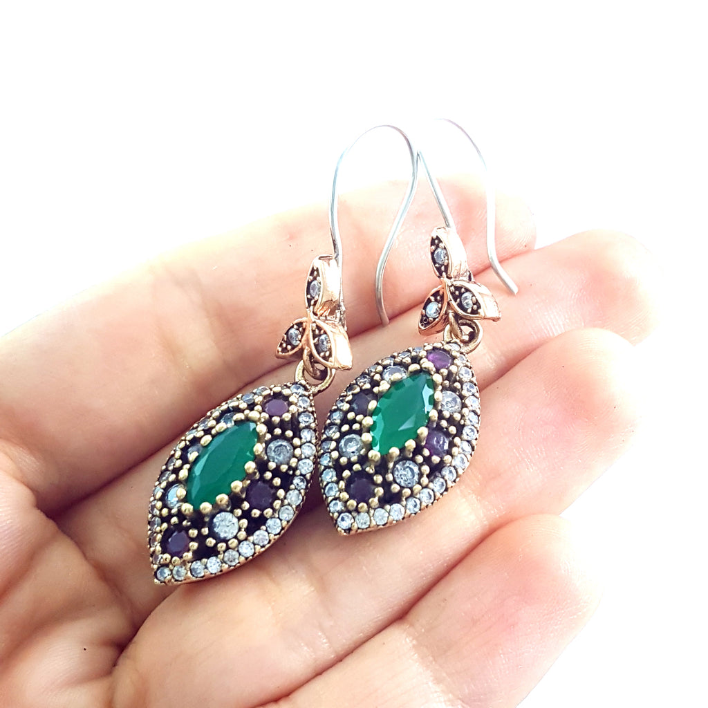 Fine Fashion Jewelry 925 Sterling Silver Ladies Earrings Hurrem Sultan E2742 - Turkishsilverjewelry