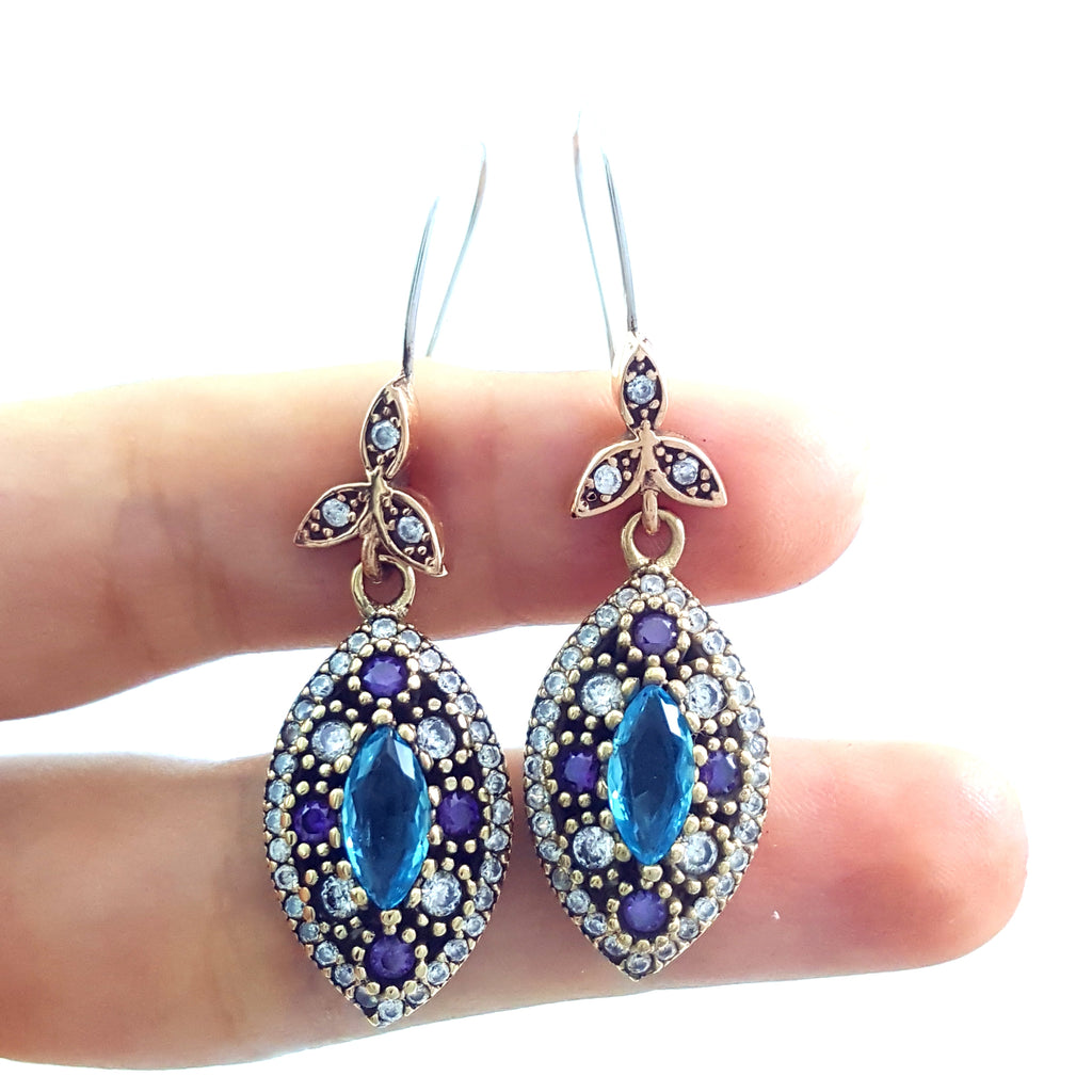Fine Fashion Turkish Jewelry 925 Sterling Silver Ladies Earrings Hurrem E2744 - Turkishsilverjewelry