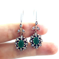 Jewelry Turkish Handmade Victorian 925 Sterling Silver Ladies Earrings E2725 - Turkishsilverjewelry