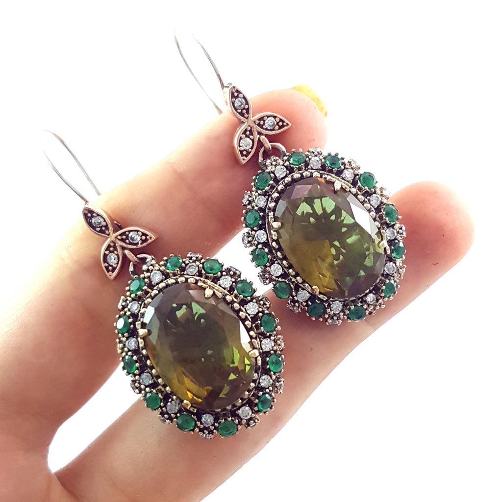 Silver Earrings Vintage 925 Dangle Handmade Turkish Jewelry Alexandrite Color Changing 1693