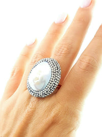 Swarovski One Of A Kind Turkish Wholesale Handmade 925 Sterling Silver Jewelry PEARL DRUZY RING - Turkishsilverjewelry
