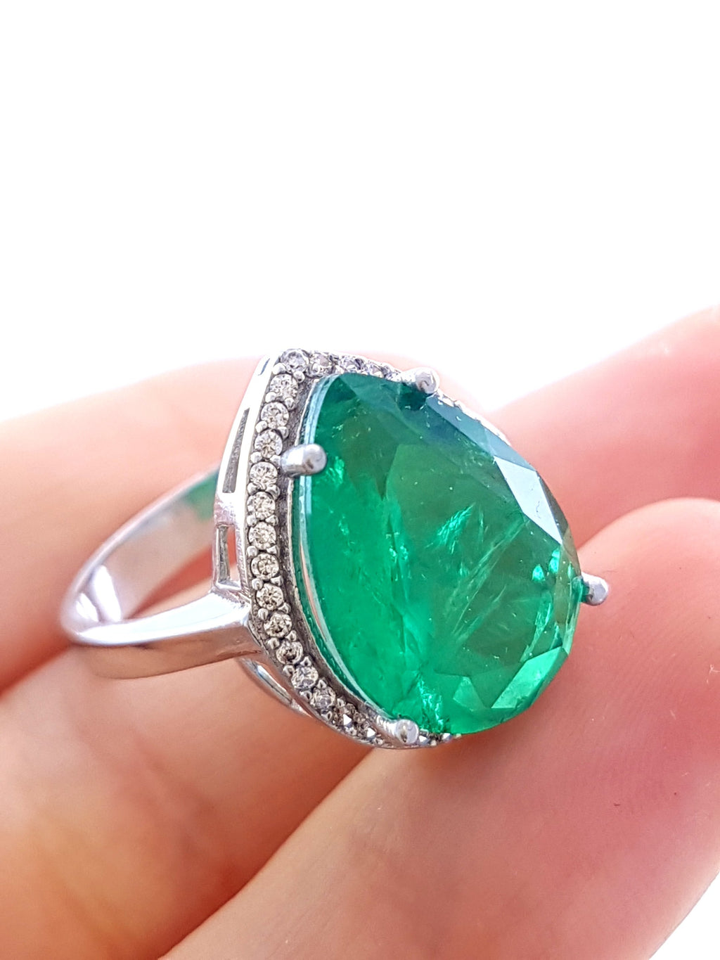 Green Paraiba Ladies Ring S 8 New Turkish Wholesale Handmade 925 Sterling Silver Jewelry R1689 - Turkishsilverjewelry