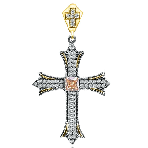 Yellow Topaz Holy Cross Turkish Wholesale Handmade 925 Sterling Silver Jewelry Pendant - Turkishsilverjewelry