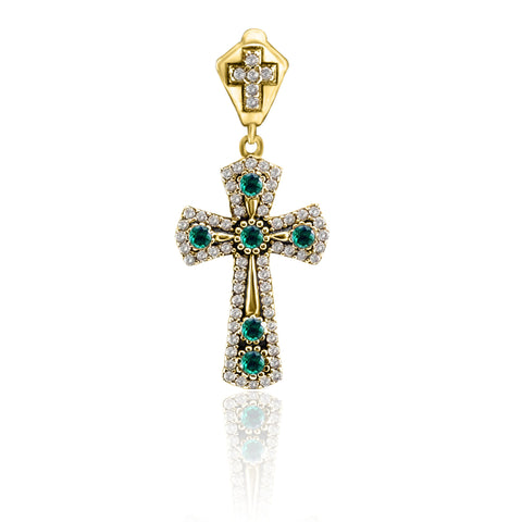 Topaz Holy Cross Turkish Wholesale Handmade 925 Sterling Silver Jewelry Pendant - Turkishsilverjewelry