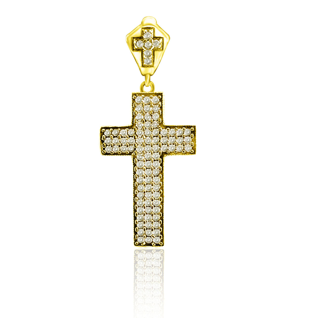 Topaz Holy Cross Antique Turkish Wholesale Handmade 925 Sterling Silver Jewelry Pendant - Turkishsilverjewelry