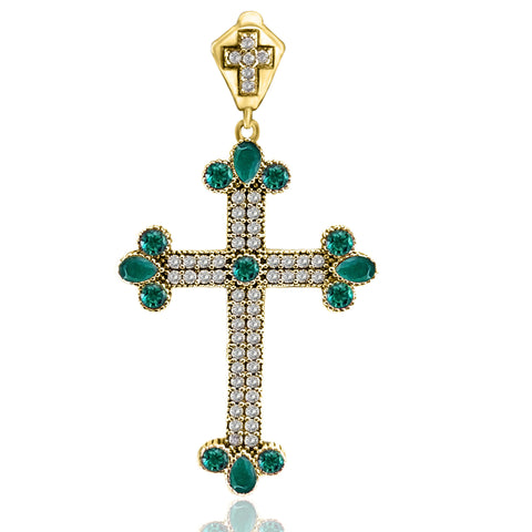 Turkish Jewelry Emerald Topaz Holy Cross Handmade 925 Sterling Silver Pendant - Turkishsilverjewelry