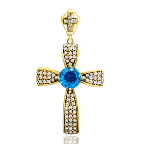 Aquamarine Topaz Holy Catholic Cross Pendant Turkish Wholesale Handmade 925 Sterling Silver Jewelry - Turkishsilverjewelry